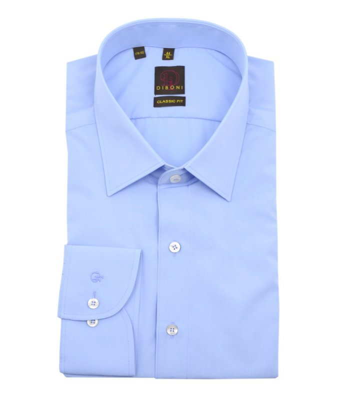 Рубашка Diboni голубая, однотонная, классический силуэт