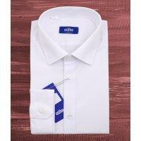Рубашка Elita белая, однотонная, приталенный силуэт, длинный рукав