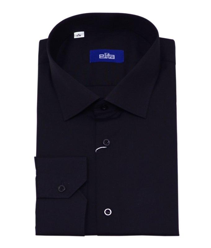 Рубашка Elita черная, однотонная, классический силуэт