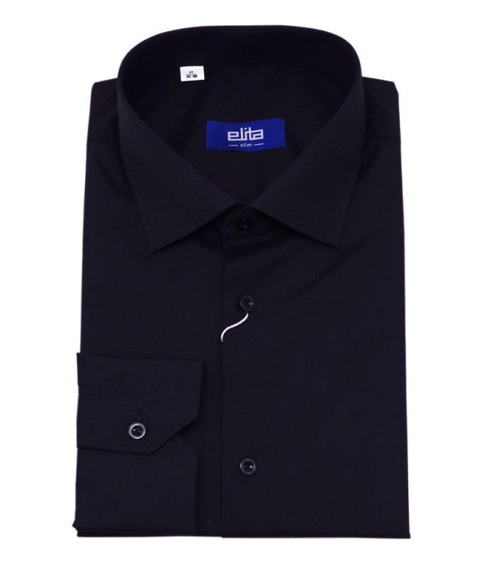 Рубашка Elita черная, однотонная, приталенный силуэт