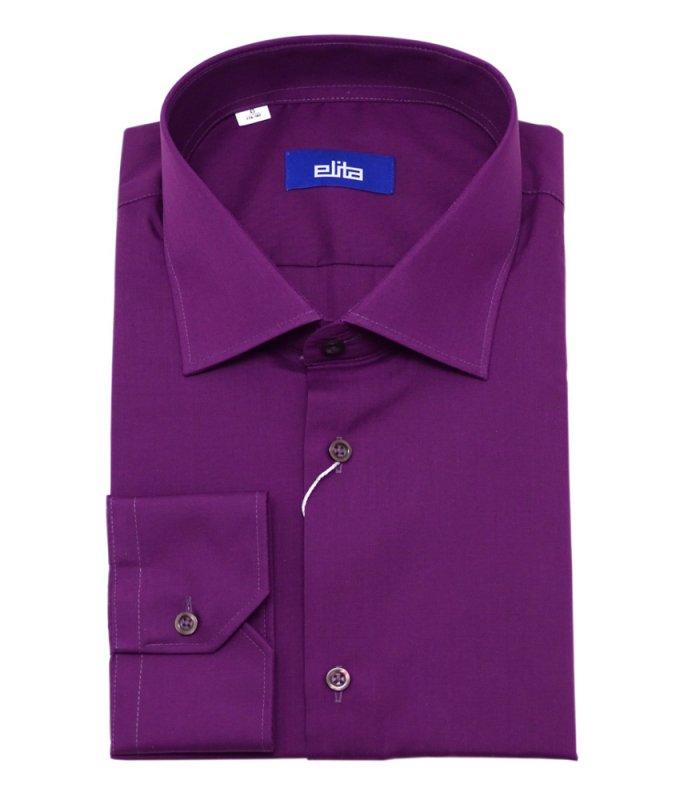 Рубашка Elita красно-фиолетовая, однотонная, классический силуэт