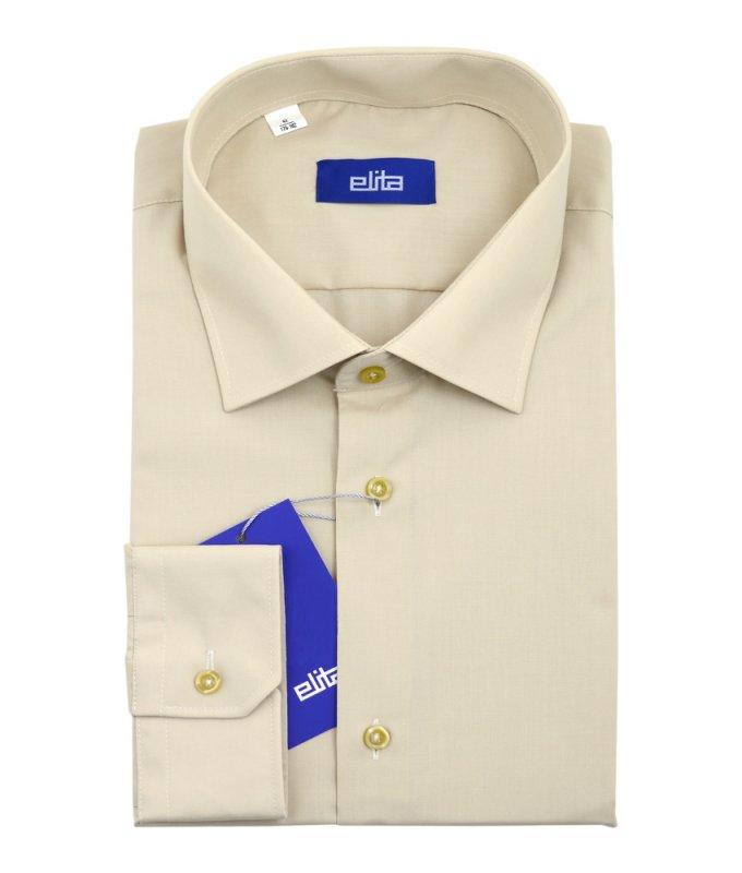 Рубашка Elita бежевая/молочная, однотонная, классический силуэт, длинный рукав