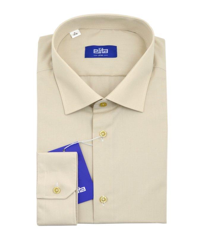 Рубашка Elita бежевая/молочная, однотонная, приталенный силуэт, длинный рукав