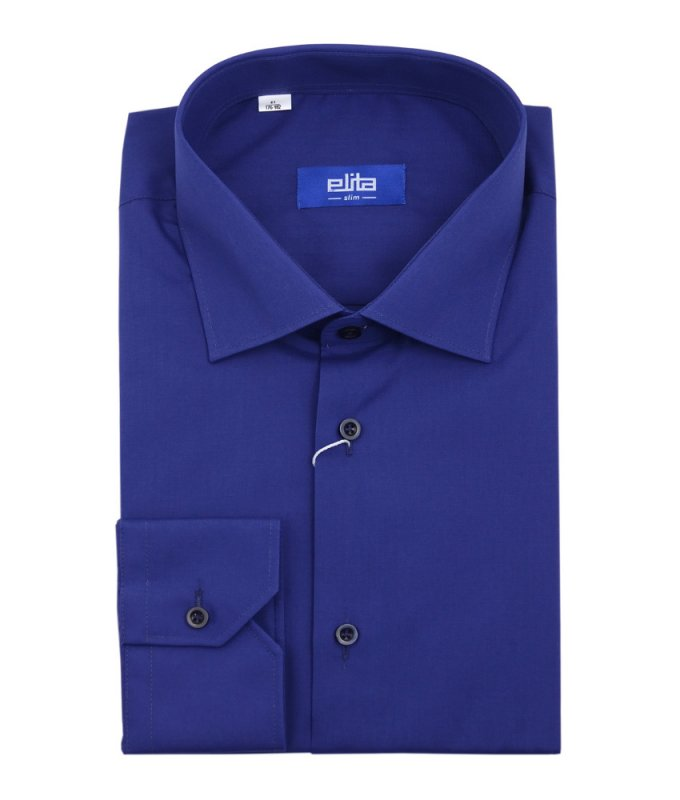 Рубашка Elita синяя, однотонная, приталенный силуэт, длинный рукав