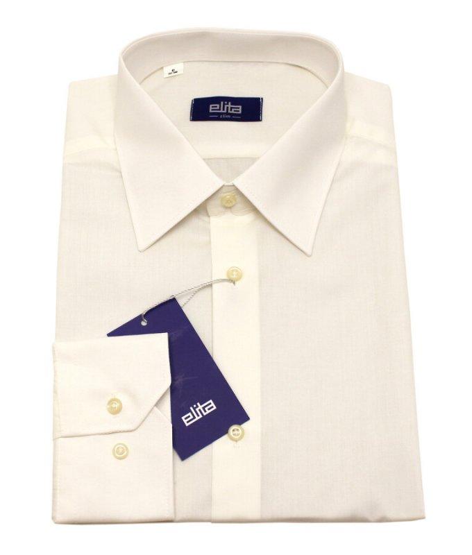 Рубашка Elita бежевая/молочная, однотонная, приталенный силуэт