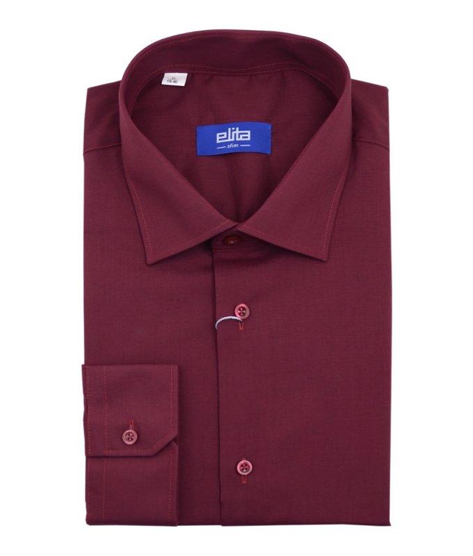 Рубашка Elita бордовая, однотонная, приталенный силуэт, длинный рукав
