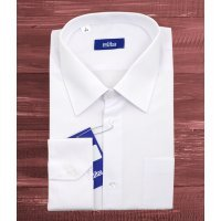 Рубашка Elita белая, однотонная, классический силуэт, длинный рукав
