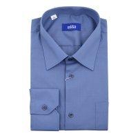 Рубашка Elita синяя, однотонная, классический силуэт, длинный рукав