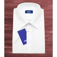 Рубашка Elita белая, однотонная, классический силуэт, короткий рукав