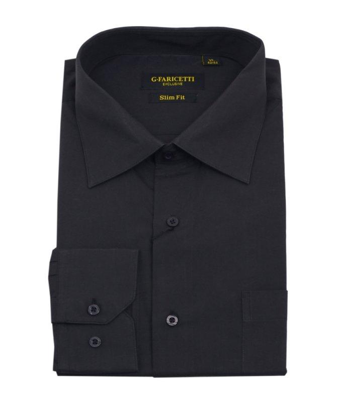 Рубашка G.Faricetti черная, однотонная, приталенный силуэт