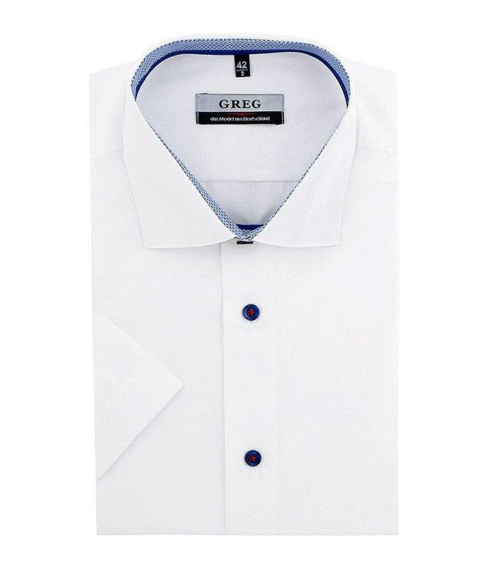 Рубашка Greg белая, однотонная, приталенный силуэт, короткий рукав
