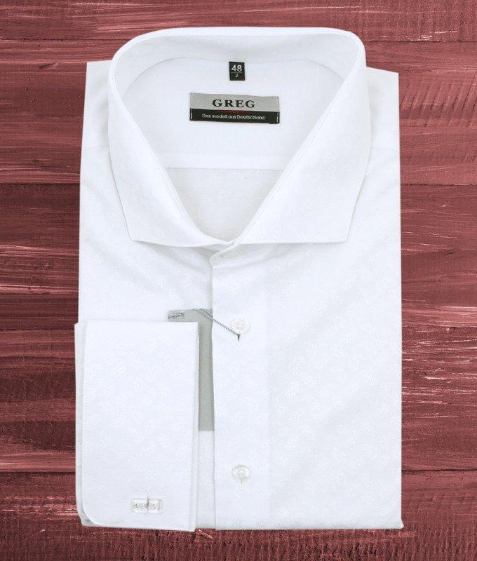 Рубашка Greg белая, с узором, классический силуэт, длинный рукав