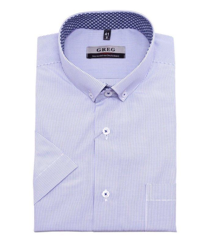 Рубашка Greg голубая, в полоску, классический силуэт