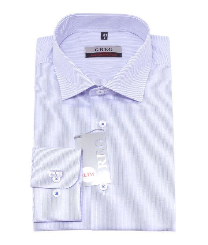 Рубашка Greg голубая, в полоску, приталенный силуэт