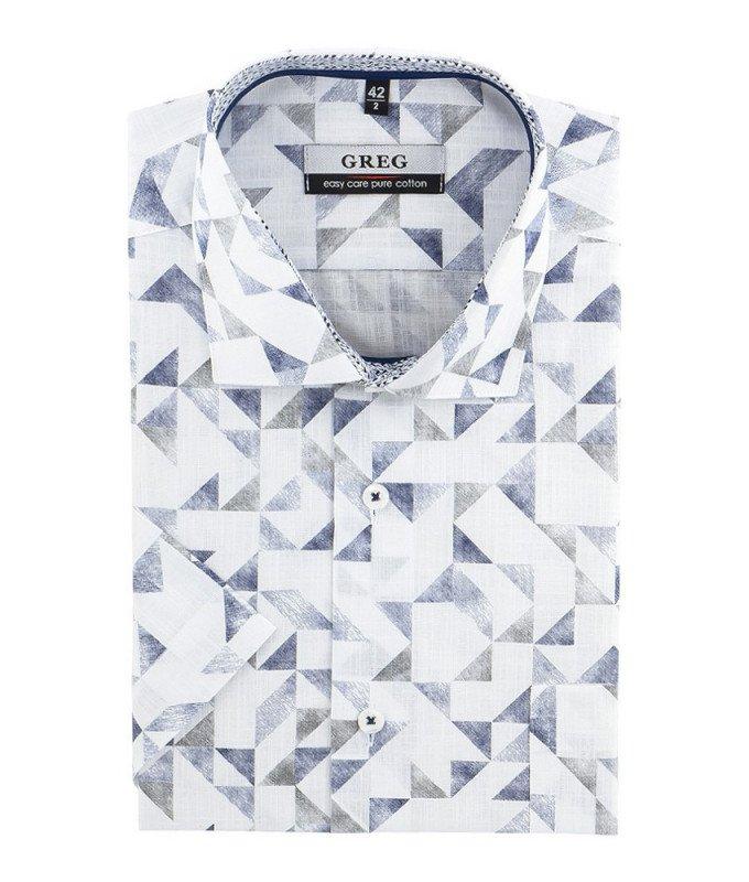 Рубашка Greg белая, с узором, классический силуэт, короткий рукав
