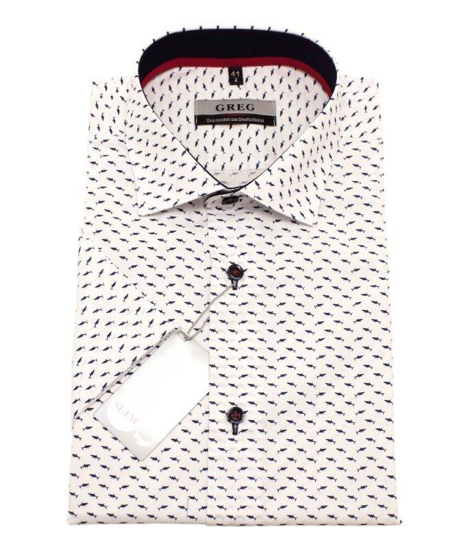 Рубашка Greg белая, с узором, приталенный силуэт