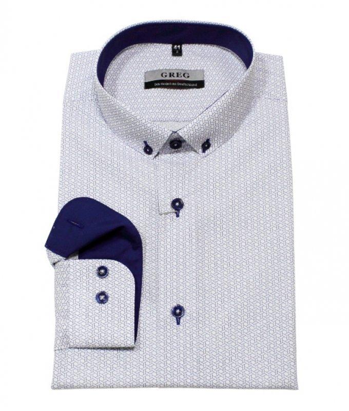 Рубашка Greg серая, с узором, приталенный силуэт