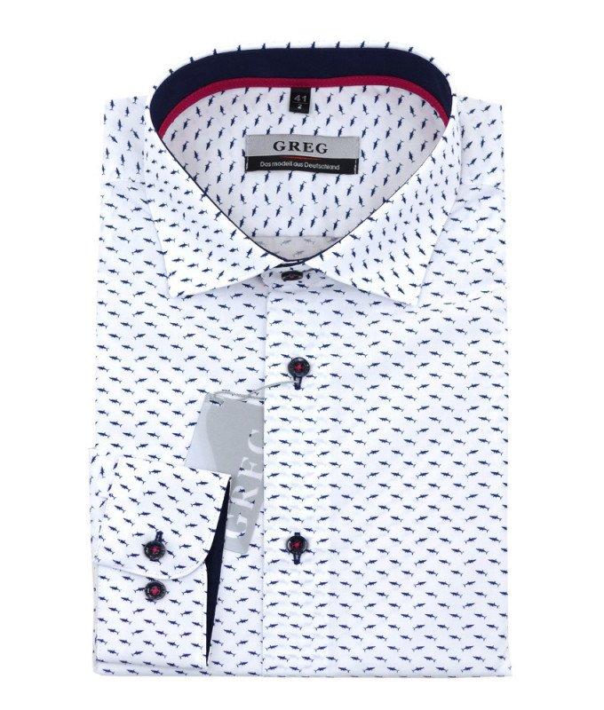 Рубашка Greg белая, с узором, приталенный силуэт, длинный рукав