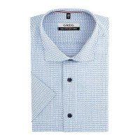 Рубашка Greg голубая, в клетку, классический силуэт, короткий рукав