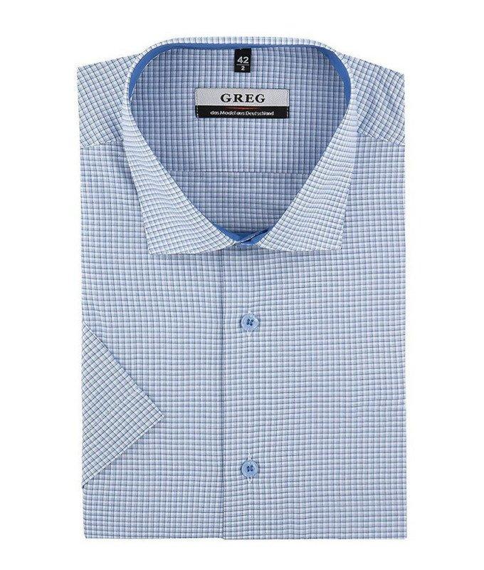 Рубашка Greg голубая, в клетку, приталенный силуэт, короткий рукав