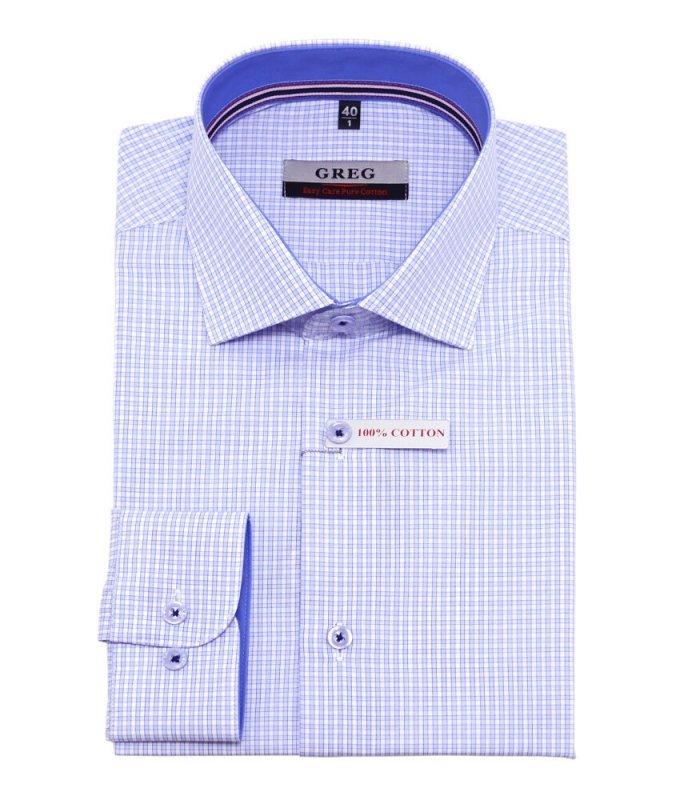 Рубашка Greg голубая, в клетку, приталенный силуэт