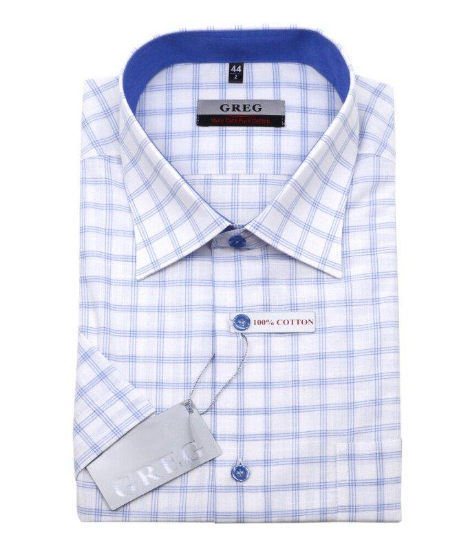 Рубашка Greg белая, в голубую клетку, классический силуэт
