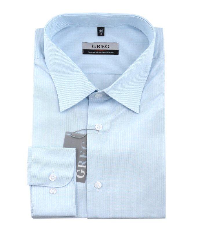 Рубашка Greg голубая, в полоску, классический силуэт, длинный рукав