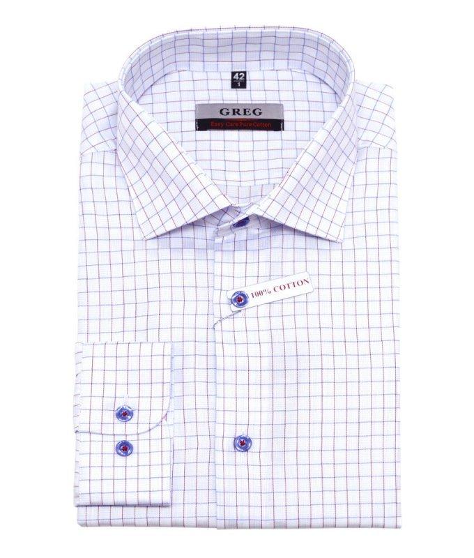 Рубашка Greg белая, в клетку, приталенный силуэт
