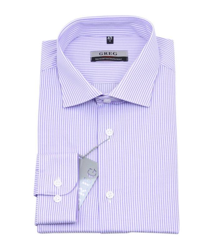 Рубашка Greg сиреневая, в полоску, приталенный силуэт