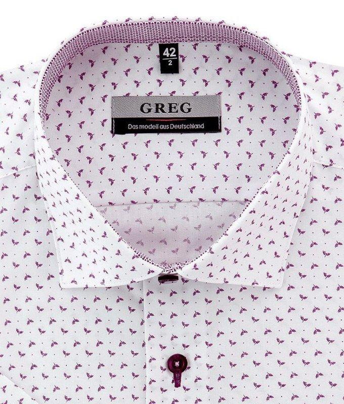 Рубашка Greg белая, с узором, приталенный силуэт, короткий рукав