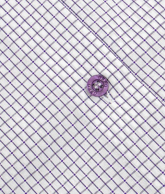 Рубашка Greg сиреневая, в клетку, классический силуэт, короткий рукав