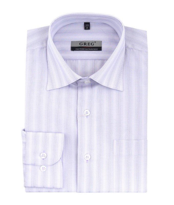 Рубашка Greg сиреневая, в полоску, классический силуэт, длинный рукав
