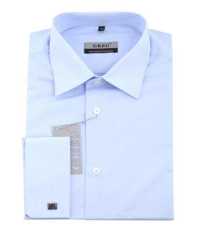Рубашка Greg голубая, однотонная, приталенный силуэт, длинный рукав