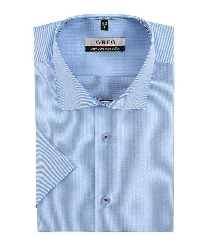 Рубашка Greg голубая, в полоску, классический силуэт, короткий рукав