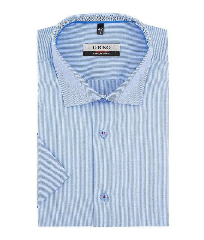 Рубашка Greg голубая, в полоску, приталенный силуэт, короткий рукав