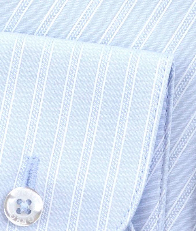 Рубашка Greg голубая, в полоску, приталенный силуэт, длинный рукав