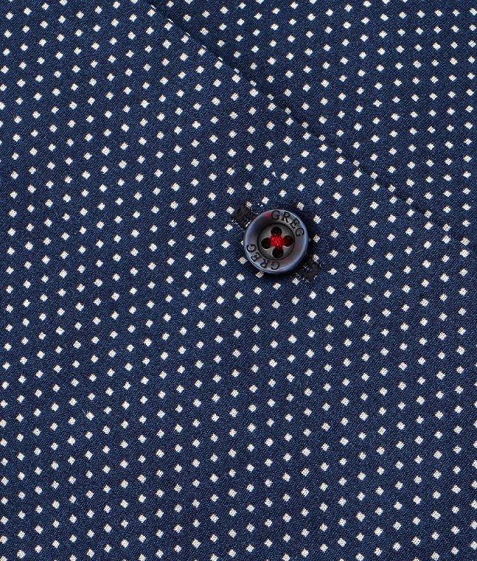 Рубашка Greg синяя, мелкий орнамент, приталенный силуэт