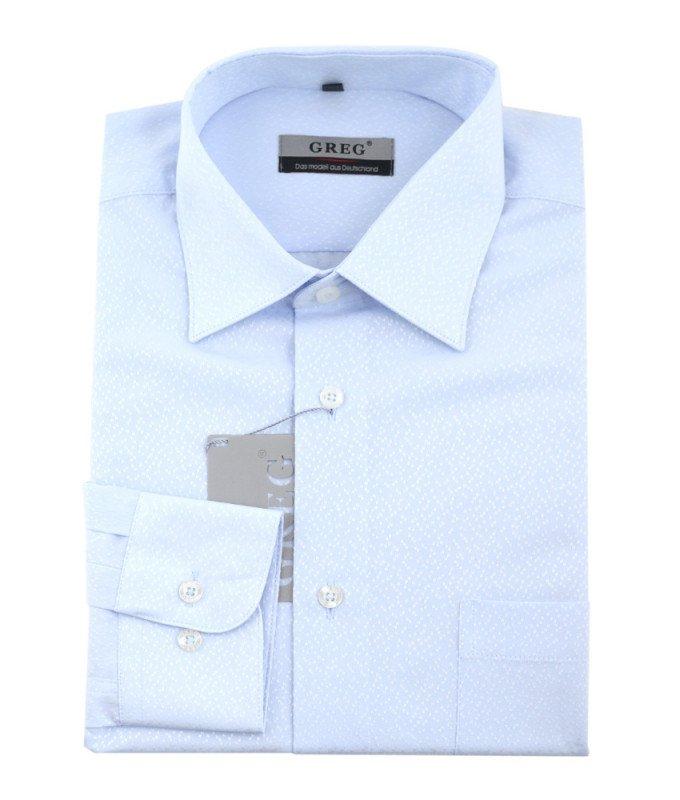 Рубашка Greg голубая, мелкий орнамент, приталенный силуэт, длинный рукав