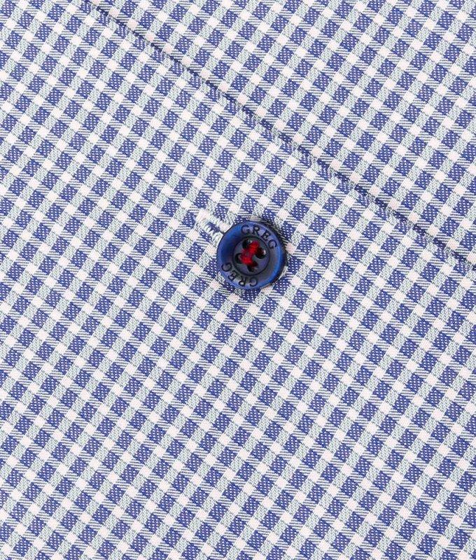 Рубашка Greg синяя, в клетку, приталенный силуэт