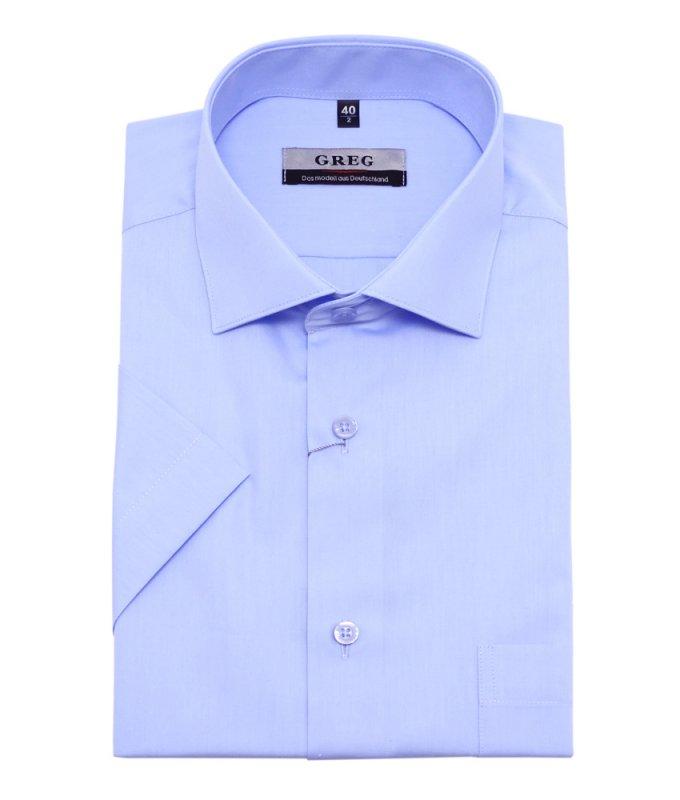 Рубашка Greg голубая, однотонная, приталенный силуэт