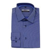 Рубашка Greg синяя, в полоску, приталенный силуэт
