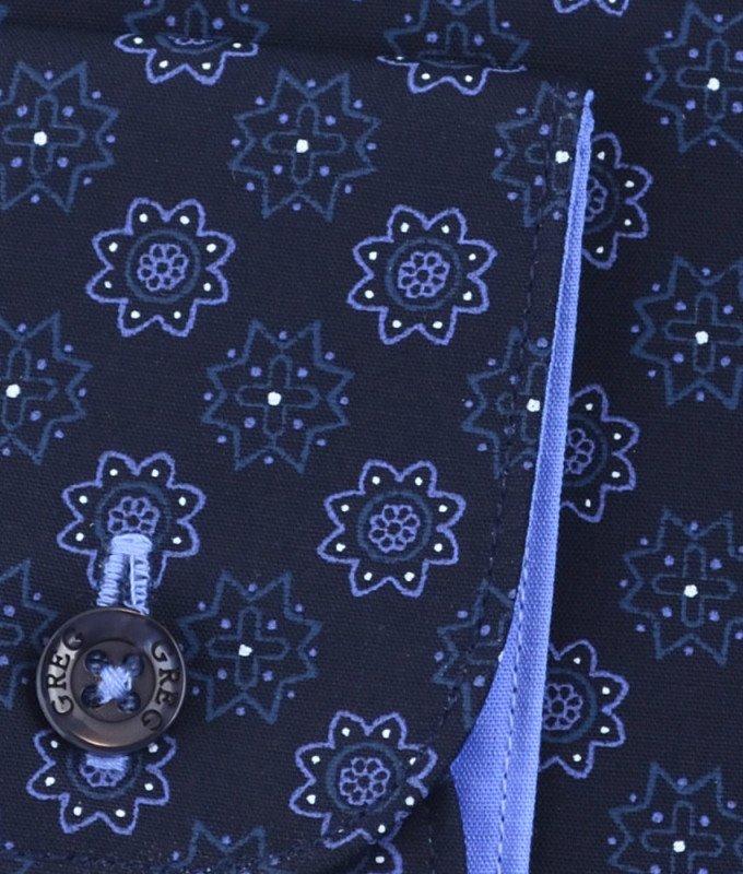 Рубашка Greg синяя, с узором, приталенный силуэт, длинный рукав