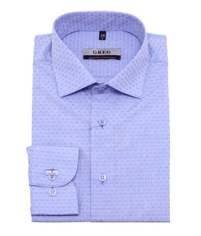 Рубашка Greg голубая, с узором, приталенный силуэт