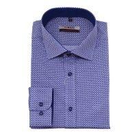 Рубашка Greg синяя, с узором, приталенный силуэт