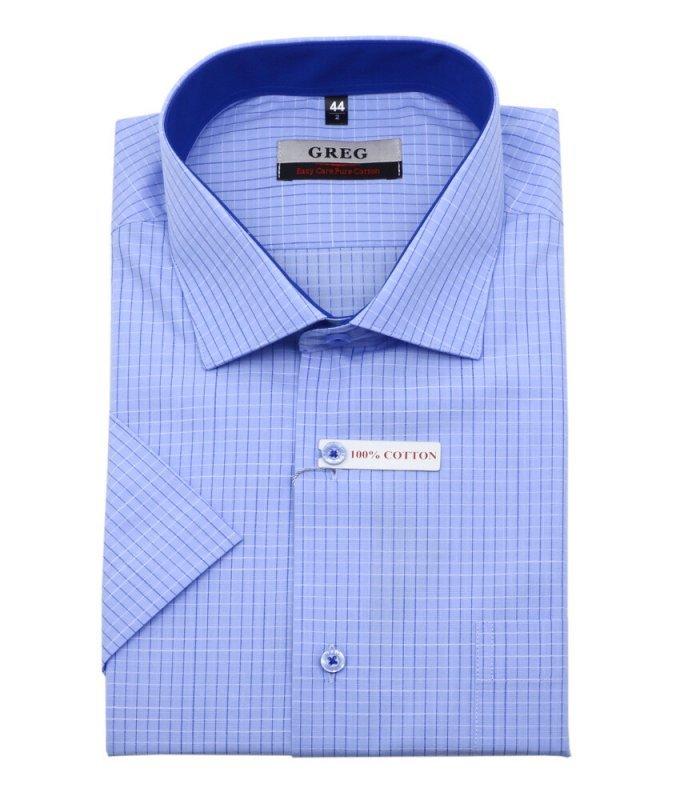 Рубашка Greg голубая, в клетку, классический силуэт