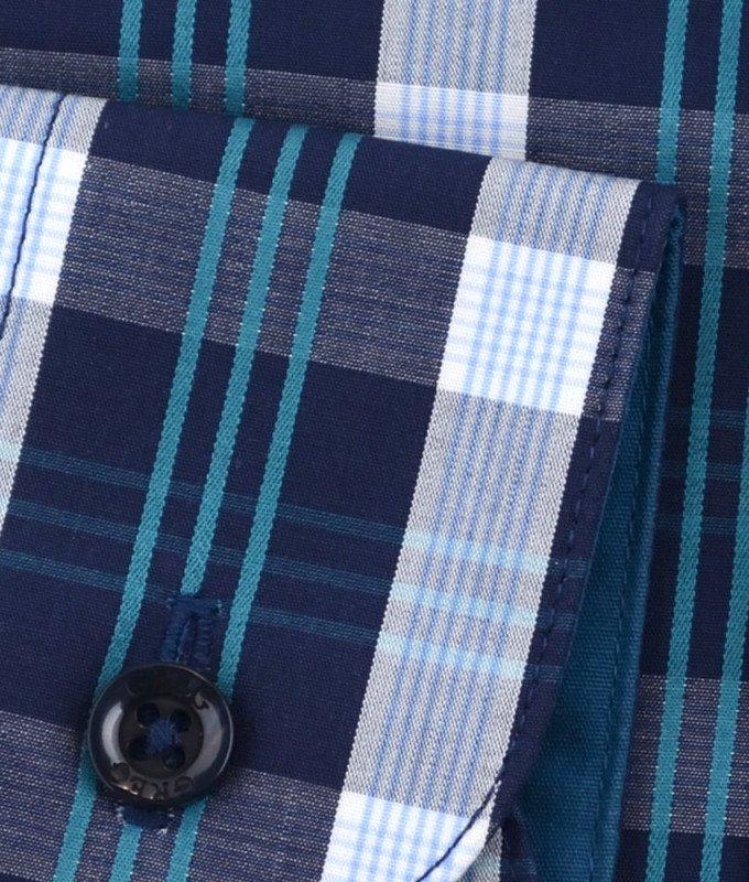 Рубашка Greg синяя, в клетку, приталенный силуэт, длинный рукав