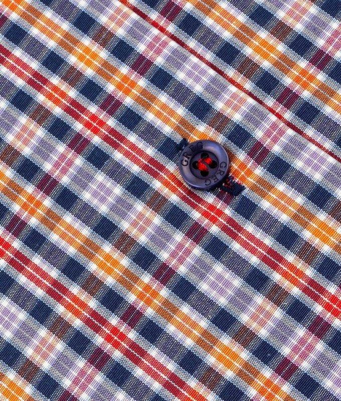 Рубашка Greg оранжевая, в клетку, приталенный силуэт, короткий рукав