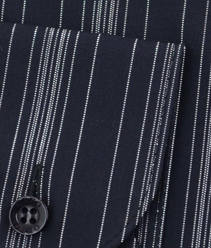 Рубашка Greg черная, в полоску, приталенный силуэт, длинный рукав