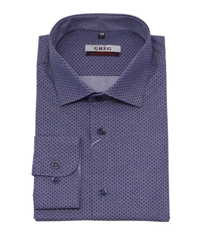 Рубашка Greg серая, с узором, полуприталенный силуэт