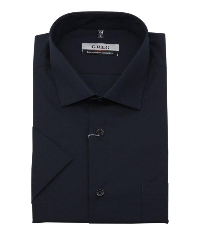 Рубашка Greg черная, однотонная, классический силуэт